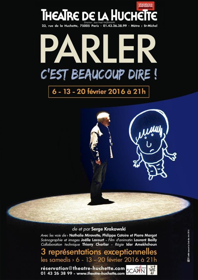 """Affiche """"Parler c'est beaucoup dire !"""" Théâtre de la Huchette"""
